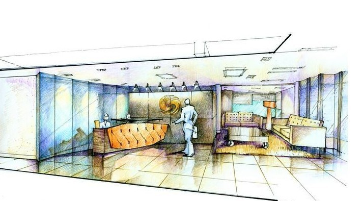 办公室设计手绘图