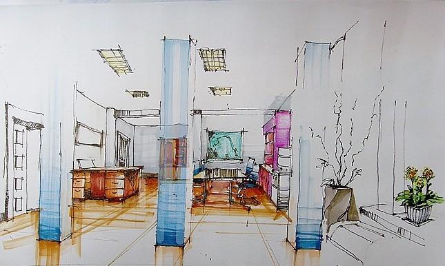 办公室设计手绘图图片