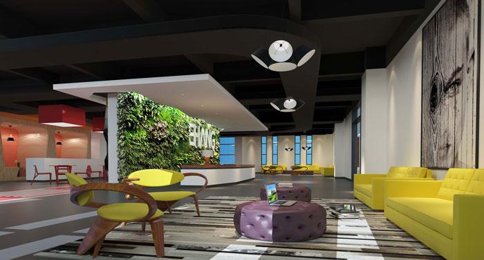 1800平方大型创意办公室前台装修设计案例效果图