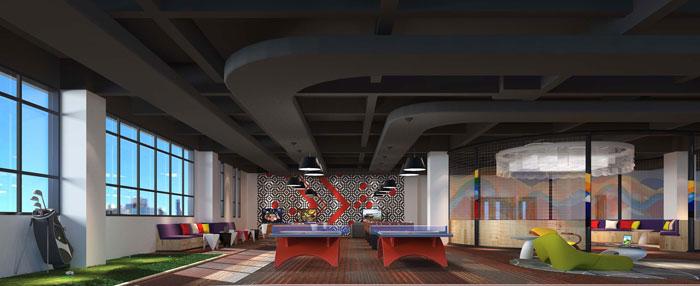 1800平方大型创意办公室娱乐区域装修设计案例效果图