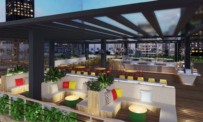 1800平方大型创意办公室餐吧区域装修设计案例效果图