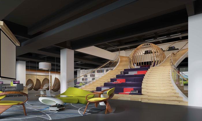 1800平方大型创意办公室休息区域装修设计案例效果图