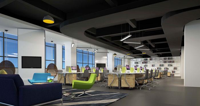 1800平方大型创意办公室办公区域装修设计案例效果图