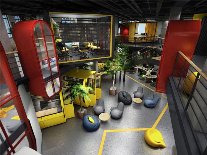 1450平方办公室俯视软装设计方案效果图
