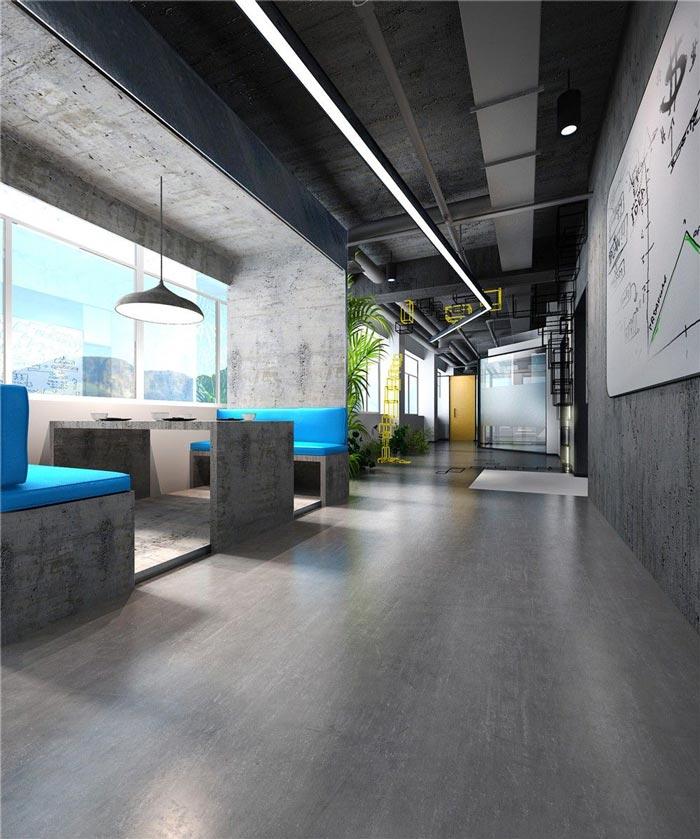 1250平方工业风办公室接待区域装修设计案例效果图