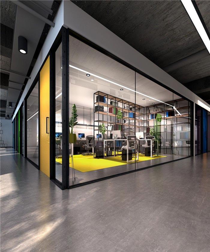 1250平方工业风办公室装修设计案例效果图